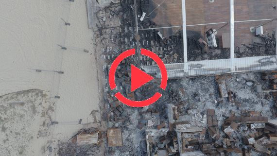 Fire accured at a beach restaurant. Several images taken by heigth of 30m and 100m by resolution of full 4k @ 4.000 x 2.250 pix.