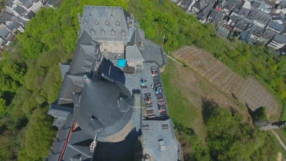 Roof inspection of the Castle Stahleck at the Rhein in Germany.